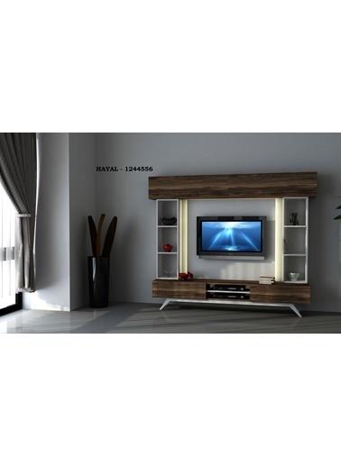 Sanal Mobilya Hayal 1244556 Tv Ünitesi Leon Ceviz/Parlak Beyaz Beyaz